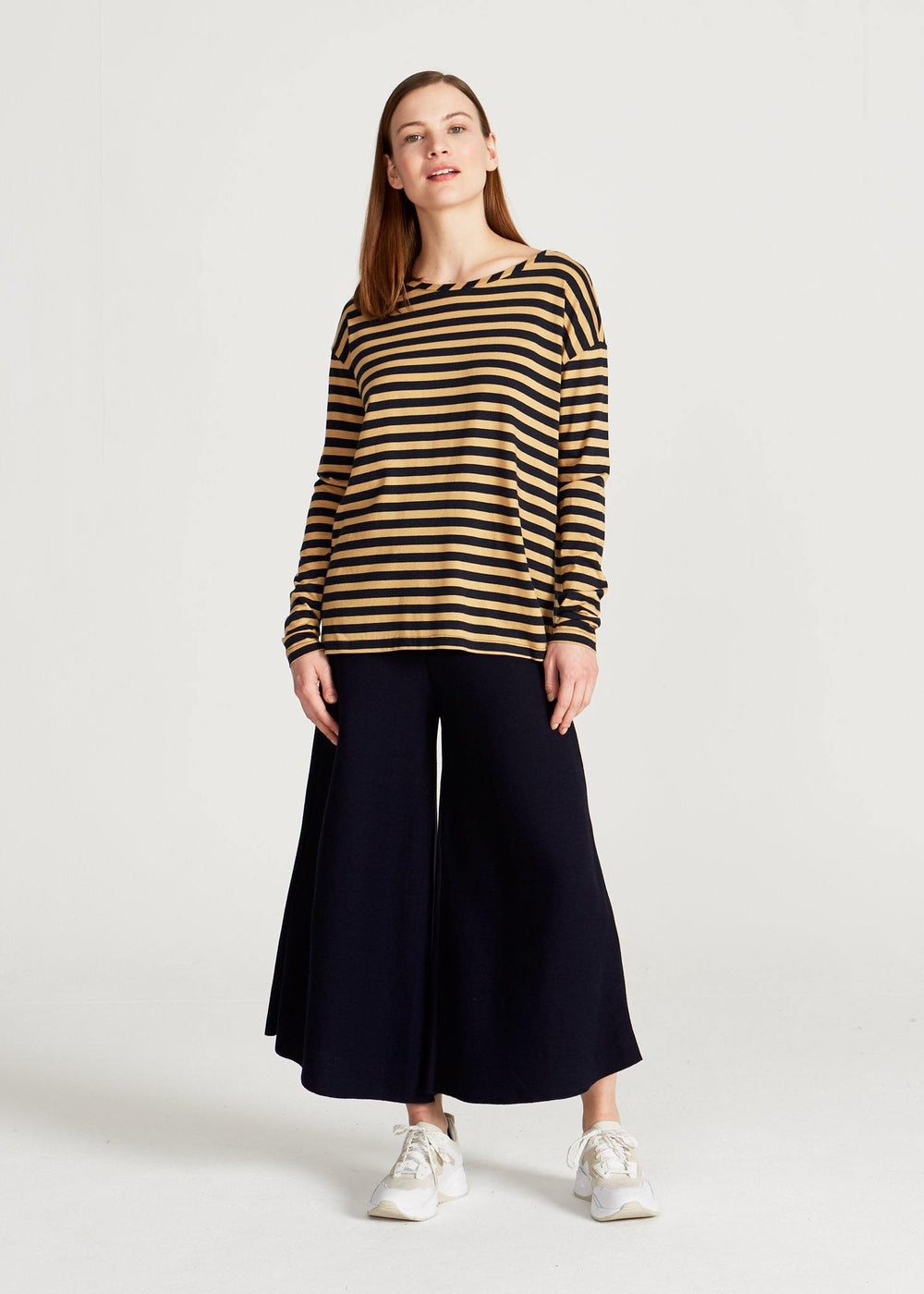 Givn BERLIN Polly Longsleeve Blue / Camel (Stripes)