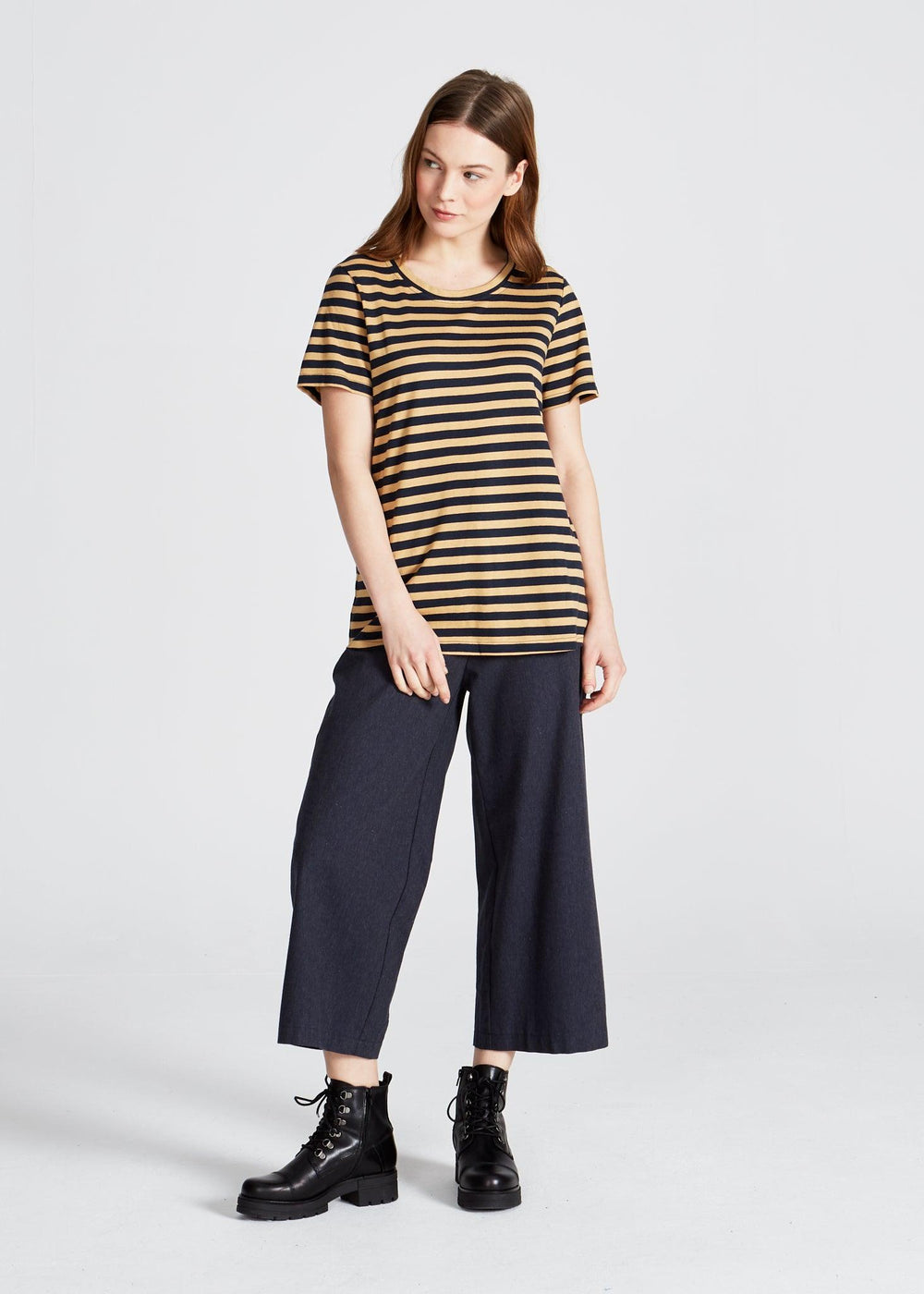 Givn BERLIN Lena T-Shirt Blue / Camel (Stripes)