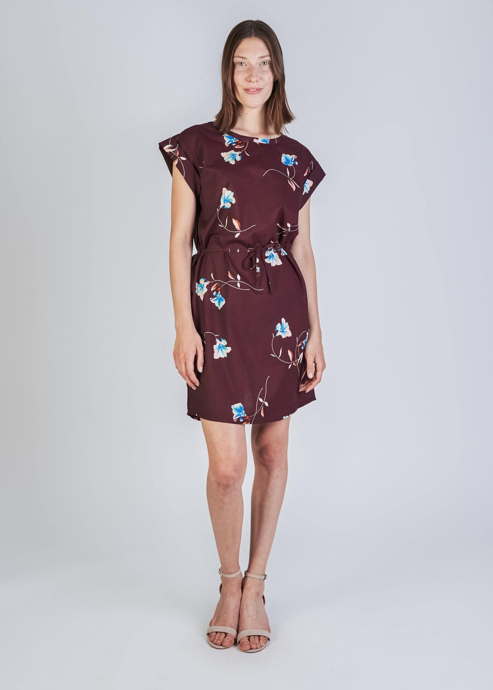 Givn BERLIN Nara Dress Burgundy (Flowers)