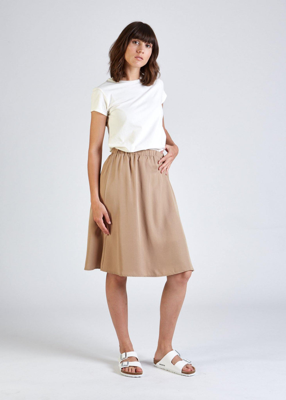 Givn BERLIN Rock LEONIE aus TENCEL™ Lyocell Skirt Light Camel (Tencel)