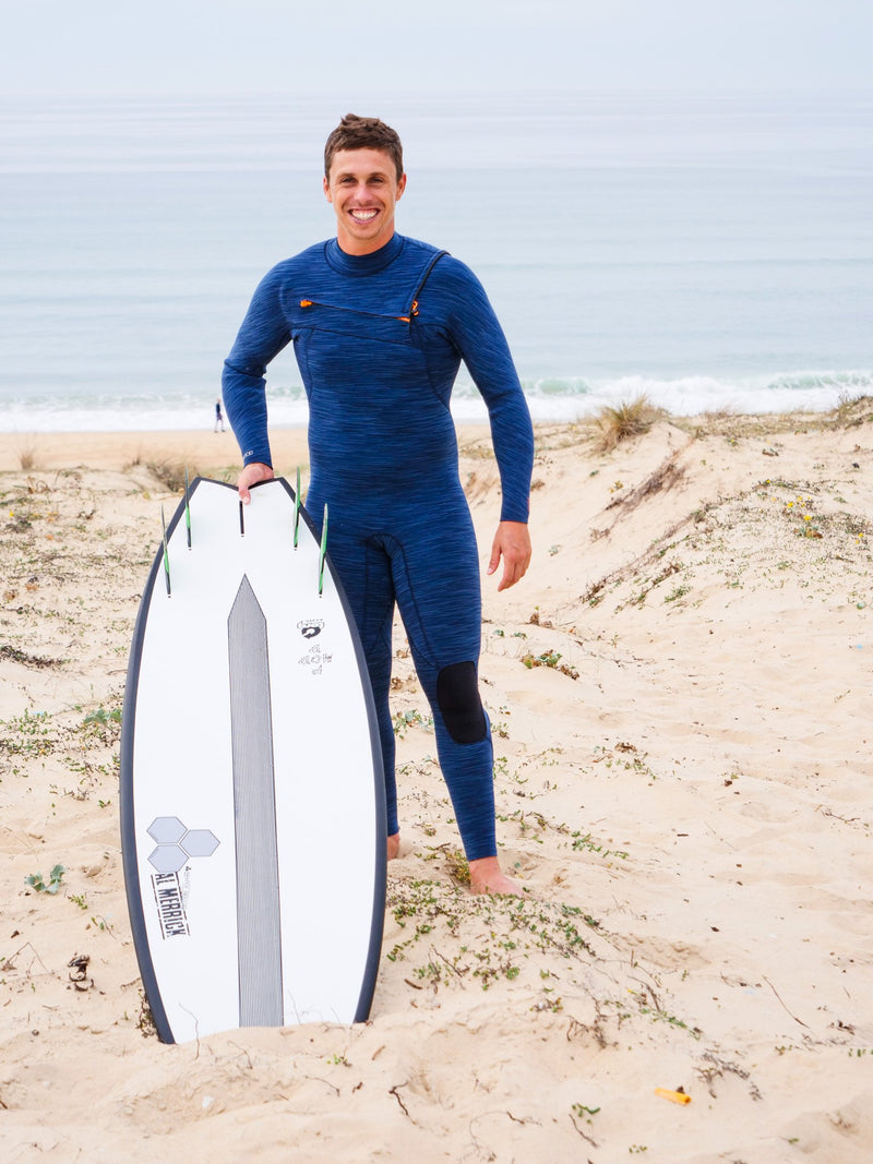 MDNS SURF - Men's Superstretch Wetsuits - Priime S-Foam - 3/2 Chest Zip Steamer Heather Iodine/Orange - 100% Superstretch S-Foam - Ride on the beach, Basque Country