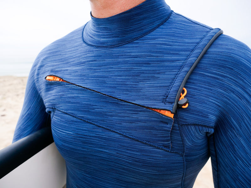 MDNS SURF - Men's Superstretch Wetsuits - Priime S-Foam - 4/3 Chest Zip Steamer Heather Iodine/Orange - 100% Superstretch S-Foam - Chest Zip Neoprene