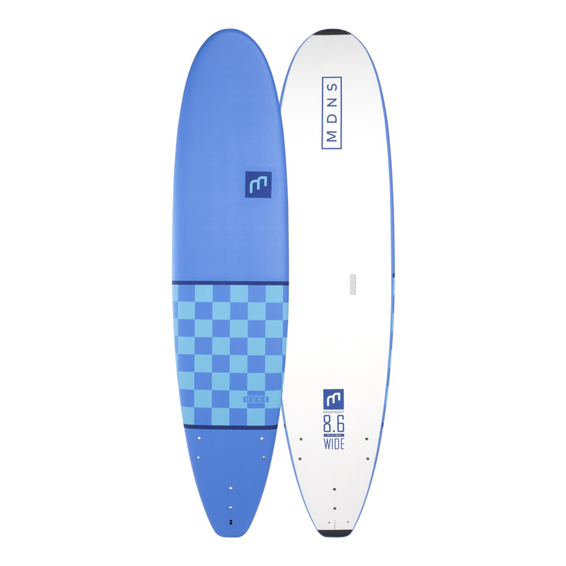 MDNS SURF - Softboards - 8'6 Wide Epoxy Soft Checker Blue/Lite Blue