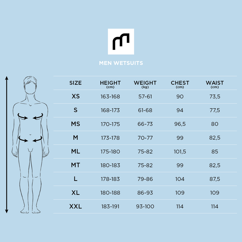 MDNS SURF Size Chart - Men's Superstretch Wetsuits - Priime S-Foam - 4/3 Chest Zip Steamer - 100% Superstretch S-Foam
