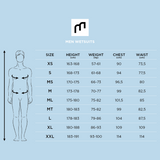 MDNS SURF Size Chart - Men's Superstretch Wetsuits - Priime S-Foam - 3/2 Chest Zip Steamer - 100% Superstretch S-Foam