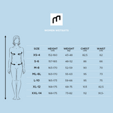MDNS SURF Size Chart - Women's Superstretch Wetsuits - Priime S-Foam - Chest Zip Steamer