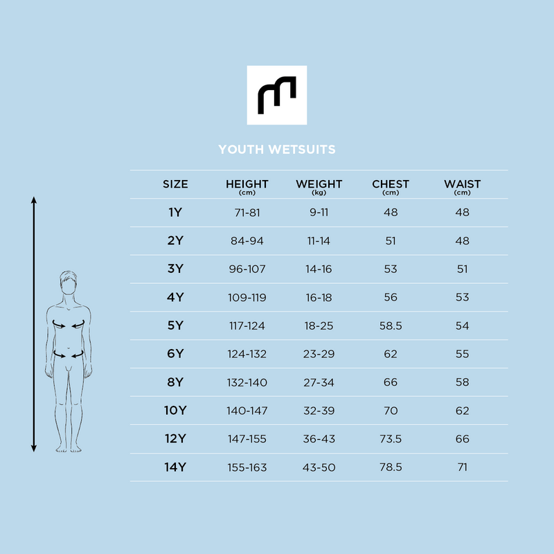 MDNS SURF Size Chart - Youth's Wetsuits - Pioneer CR-Foam - Back Zip Shorty Boy