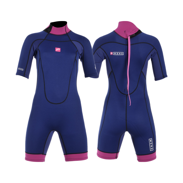 MDNS SURF - Women's Wetsuits - Pioneer CR-Foam - 2/2 Back Zip Shorty Navy/Pink