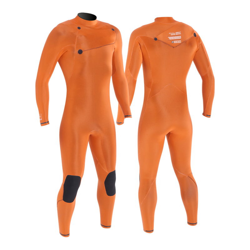 MDNS SURF - Men's Superstretch Wetsuits - Priime S-Foam - 3/2 Chest Zip Steamer Black/Orange - 100% Superstretch S-Foam