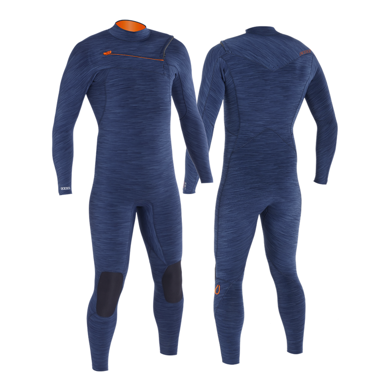 MDNS SURF - Men's Superstretch Wetsuits - Priime S-Foam - 3/2 Chest Zip Steamer Heather Iodine/Orange - 100% Superstretch S-Foam