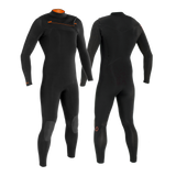 MDNS SURF - Men's Superstretch Wetsuits - Priime S-Foam - 4/3 Chest Zip Steamer Black/Orange - 100% Superstretch S-Foam