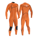 MDNS SURF - Men's Superstretch Wetsuits - Priime S-Foam - 4/3 Chest Zip Steamer Heather Iodine/Orange - 100% Superstretch S-Foam
