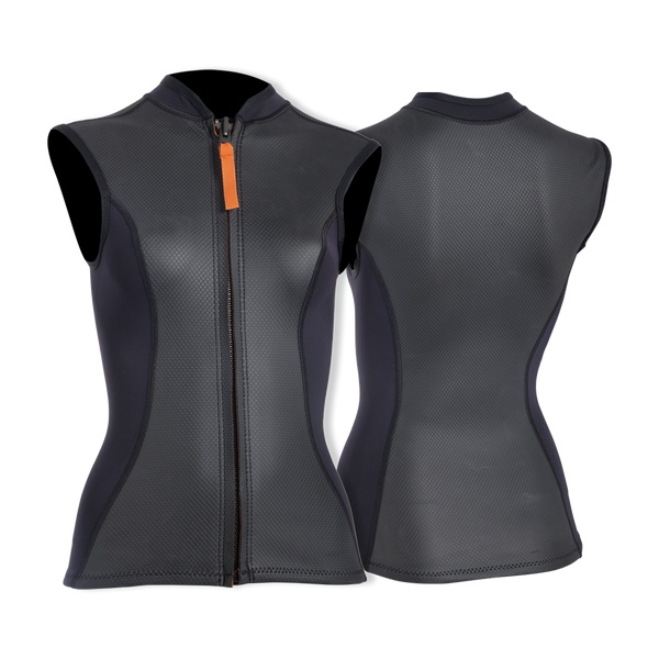 MDNS SURF - Women's Superstretch Wetsuits - Priime S-Foam - 1/1 Naiad Vest Black/Orange