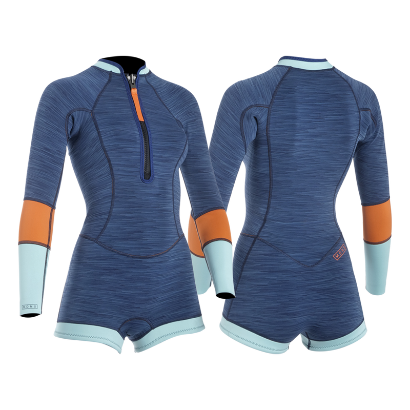 MDNS SURF - Women's Superstretch Wetsuits - Priime S-Foam - 2/2 Naiad Shorty Heather Iodine/Orange - 100% Superstretch S-Foam