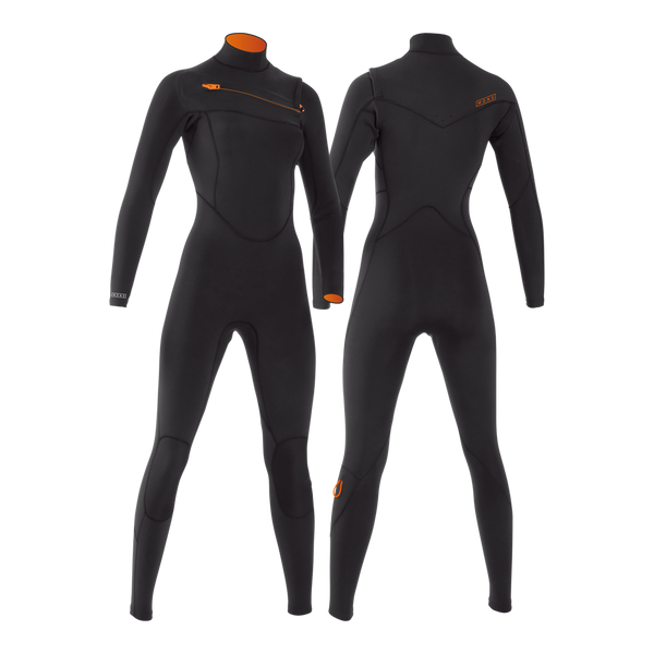 MDNS SURF - Women's Superstretch Wetsuits - Priime S-Foam - 3/2 Chest Zip Steamer Black/Orange