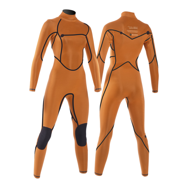 MDNS SURF - Women's Superstretch Wetsuits - Priime S-Foam - 4/3 Chest Zip Steamer Black/Orange
