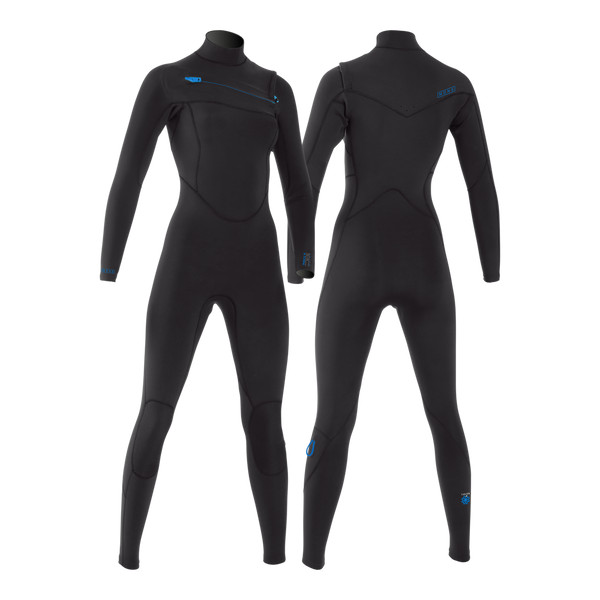 MDNS SURF - Women's Eco-Friendly Wetsuits - Puure Yulex - 2/2 Chest Zip Steamer Black/Blue