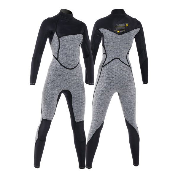 MDNS SURF - Women's Eco-Friendly Wetsuits - Puure Yulex - 3/2 Chest Zip Steamer Black/Yellow