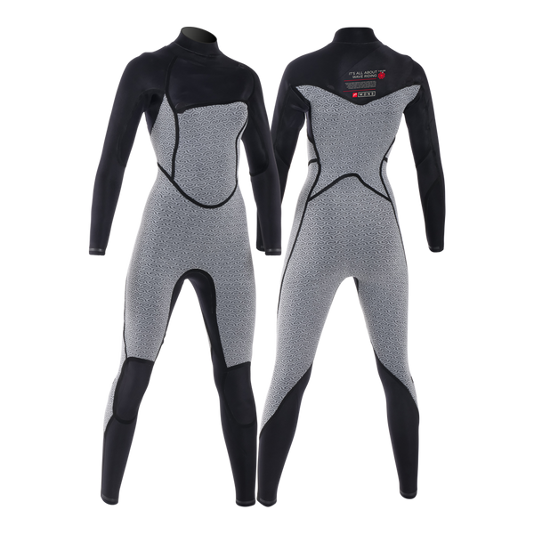 MDNS SURF - Women's Eco-Friendly Wetsuits - Puure Yulex - 4/3 Chest Zip Steamer Black/Red