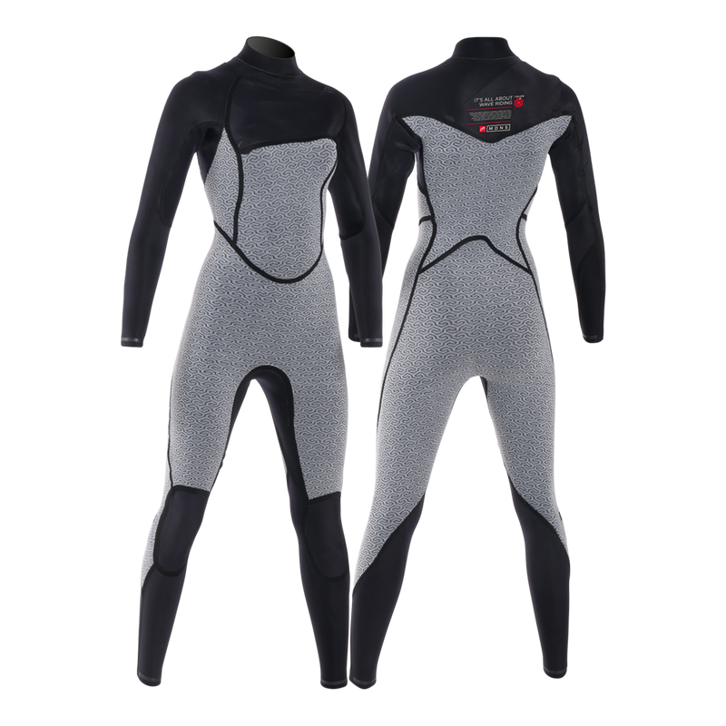 PUURE WOMEN 4/3 CHESTZIP STEAMER BLACK/RED - WOMEN'S ECO WETSUITS