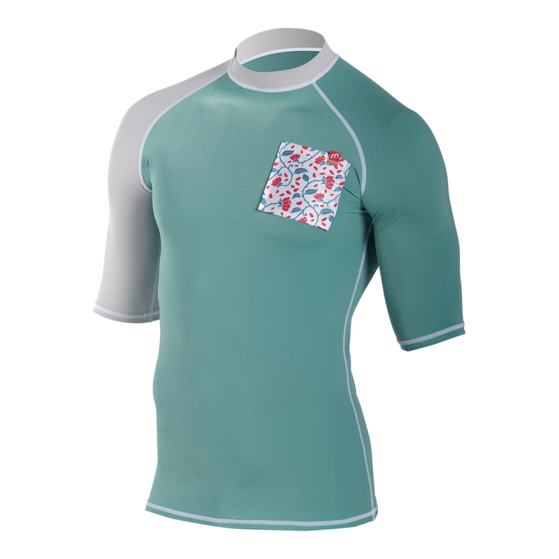 FASHION SHORTSLEEVES TEAL/GREY - RASHVEST