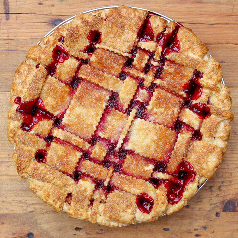 Tart cherry pie baked to jammy perfection in a flakey, all-butter pie crust!