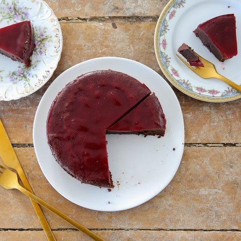 Flourless Chocolate Cake Raspberry Gelee Sliced