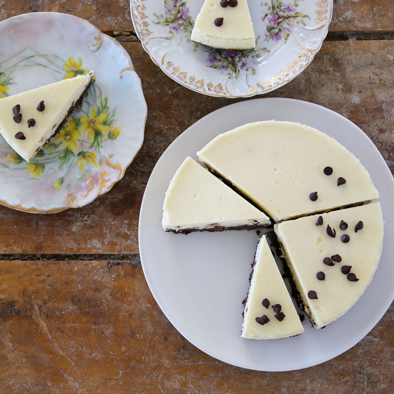 Chocolate Chip Cheesecake sliced