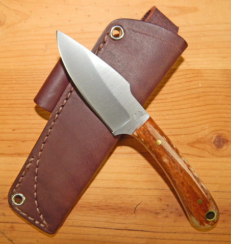 L. T. Wright Handcrafted Knives: Great Plainsman, D2 Steel, Saber Grind, Bone Handles, Leather Hip Sheath, #18
