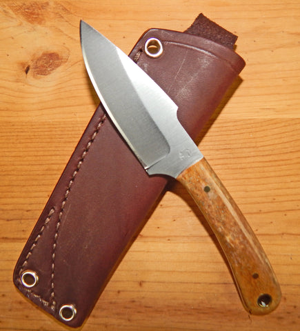 L. T. Wright Handcrafted Knives: Great Plainsman, D2 Steel, Saber Grind, Bone Handles, Leather Hip Sheath, #14