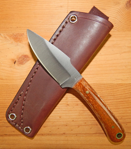 L. T. Wright Handcrafted Knives: Great Plainsman, D2 Steel, Saber Grind, Bone Handles, Leather Hip Sheath, #16