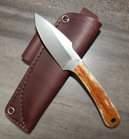 L. T. Wright Handcrafted Knives: Great Plainsman, D2 Steel, Saber Grind, Bone Handles, Leather Hip Sheath, #21