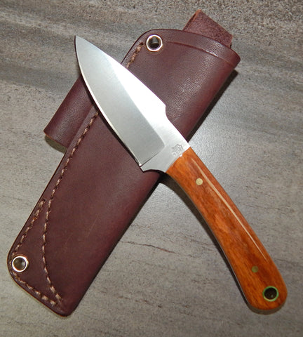 L. T. Wright Handcrafted Knives: Great Plainsman, D2 Steel, Saber Grind, Bone Handles, Leather Hip Sheath, #22