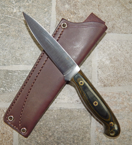 L. T. Wright Handcrafted Knives: JET, 01 Tool Steel, Green and Black Polished Micarta Handles, Leather Hip Sheath
