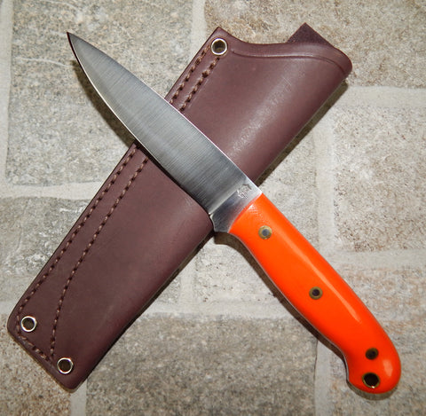 L. T. Wright Handcrafted Knives: JET, 01 Tool Steel, Flat Grind, Orange Handles, Leather Hip Sheath