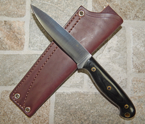 L. T. Wright Handcrafted Knives: JET, 01 Tool Steel, Flat Grind, Black Handles, Leather Hip Sheath