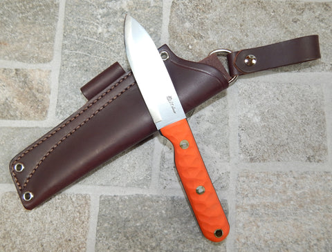 L. T. Wright Handcrafted Knives: Hevi Bushcrafter Scandi Grind, A2 Tool Steel, Orange G10 Mountain Handle w/Black Liners, Leather Dangler Hip Sheath