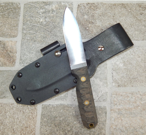 L. T. Wright Handcrafted Knives: Bushcrafter Flat Grind, A2 Tool Steel, Black Bead Blasted Micarta Mountain Handle, Kydex Sheath w/firesteel loop