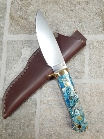 L. T. Wright Handcrafted Knives: Custom White Tail Classic, Flat Grind, D2 Tool Steel, Blue Seashells Handle w/Brass Bolster, Leather Hip Sheath