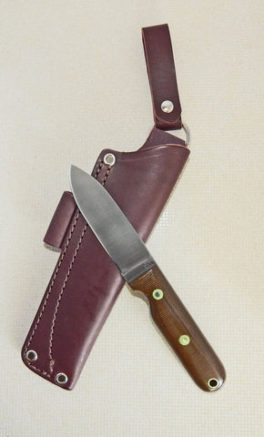 L. T. Wright Handcrafted Knives: Bushcrafter Flat Grind, A2 Tool Steel, Green Polished Micarta Handle, Leather Dangler Hip Sheath