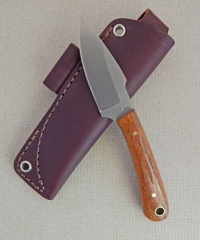 L. T. Wright Handcrafted Knives: Great Plainsman, D2 Steel, Saber Grind, Bone Handles, Leather Hip Sheath, #8