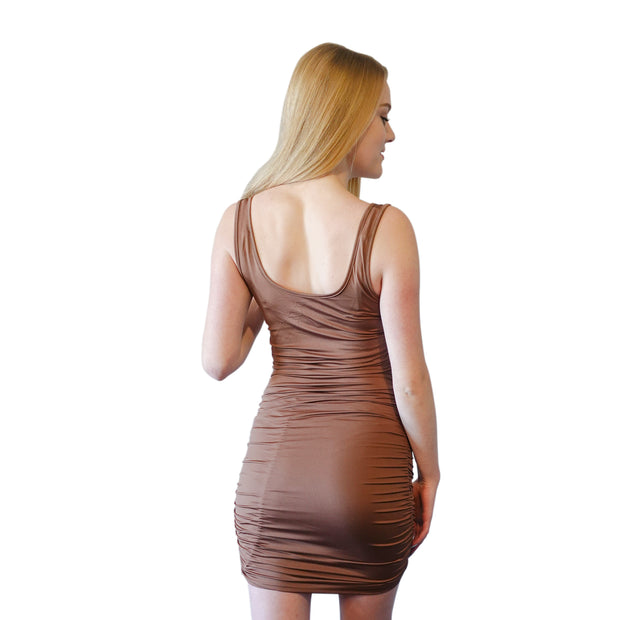 SOLID BROWN SLEEVELESS DRESS