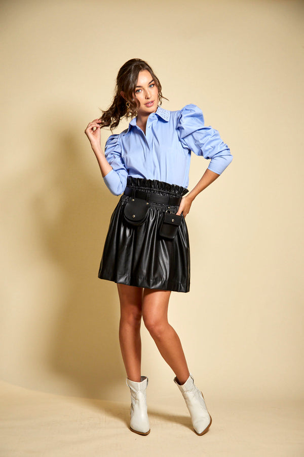 Vegan Leather rouched mini skirt