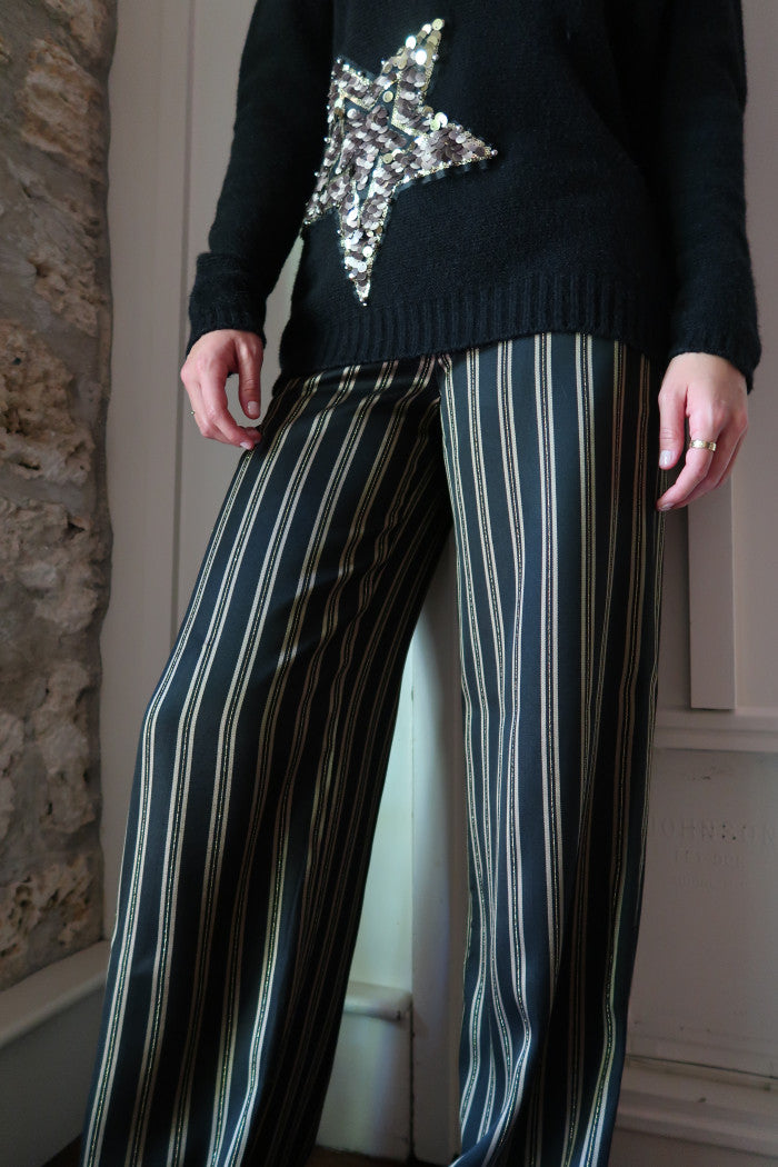 Metallic Striped Pants