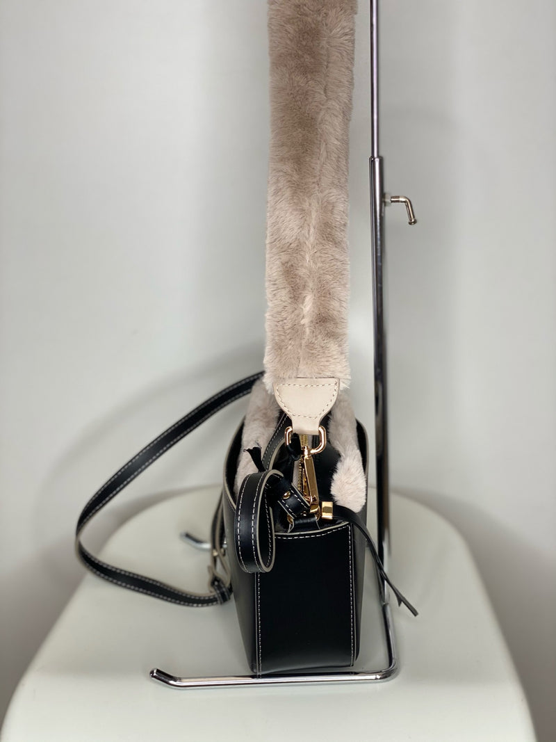Crossbody Leather Fur Combo Bag