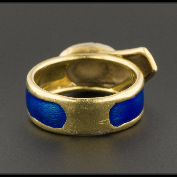Vintage Buckle Ring | Blue Enamel & Diamond Buckle Ring | 18k Gold Ring | 18k Gold Buckle Ring