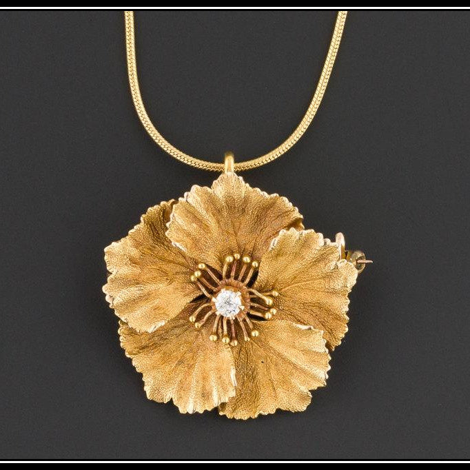 14k Gold Diamond Necklace | Diamond Flower Necklace-Trademark Antiques