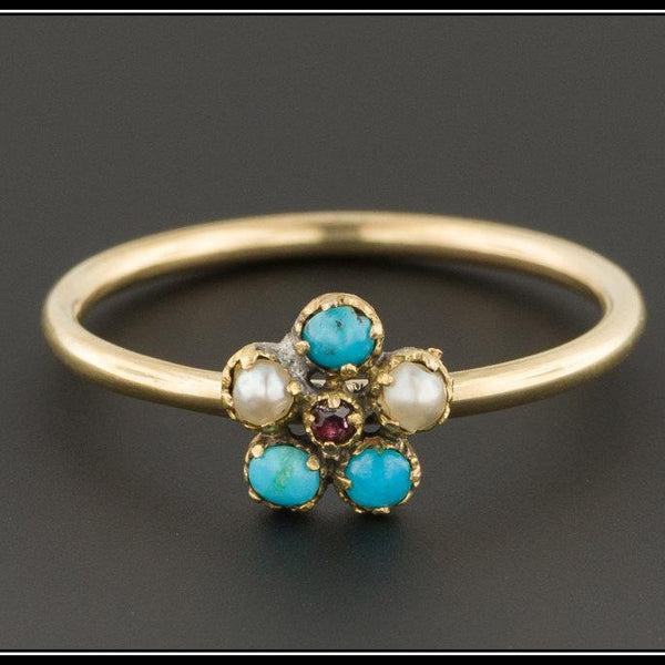 Antique Turquoise & Pearl Ring | Antique Stick Pin Ring | Turquoise Flower Ring | Turquoise Ring | Forget-Me-Not Ring | Pearl Ring