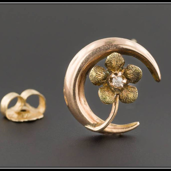 10k Gold Flower & Crescent Moon Single Stud Earring | Antique Stick Pin Conversion Earring | Diamond Moon Earring | Single Earring |