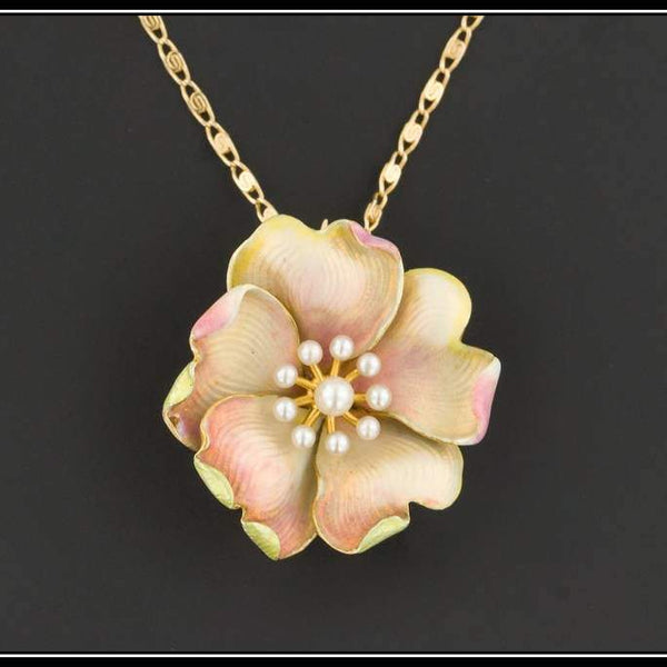 Antique Pink Flower Brooch or Pendant | Antique Enamel Flower With Optional 14k Gold Chain | Antique Flower Brooch
